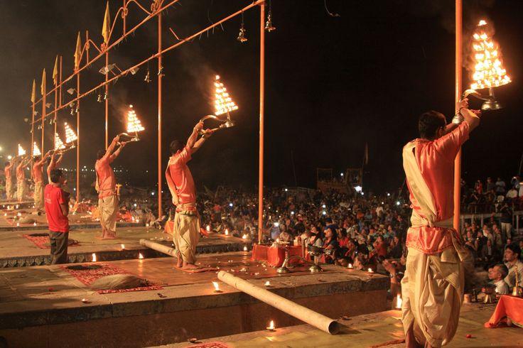 Ganga aarti being performed at Varanasi, India.   #varanasi, #india, #ganga, #aarti, #incredibleindia, #ghats, #indianculture