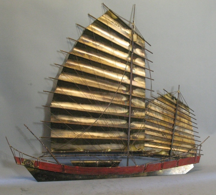 """Rare Signed Curtis Jere Wall Sculpture """"Chinese Junk Boat"""" c. 1982   eBay"""