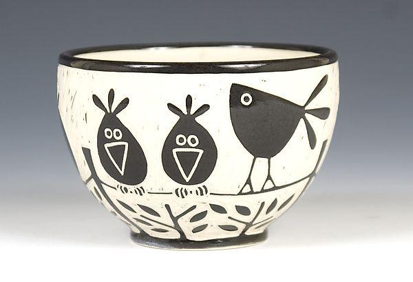 Birds on a Wire Bowl: Jennifer Falter: Ceramic Bowl - Artful Home