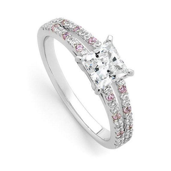 Pink Diamond Engagement Rings Princess Cut