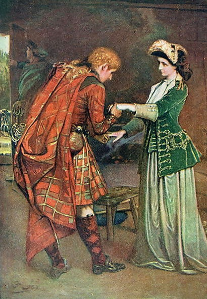 Painting by George W. Joy depicting Bonnie Prince Charlie taking his leave with the Scottish heroine Flora MacDonald, after she helped him flee Scotland.