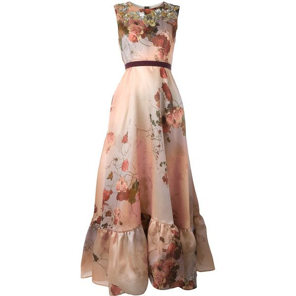 Antonio Marras floral print gown (€2.305) ❤ liked on Polyvore featuring dresses, gowns, pink, pink evening dress, floral print ball gown, brown dress, pink evening gowns and pink floral print dress