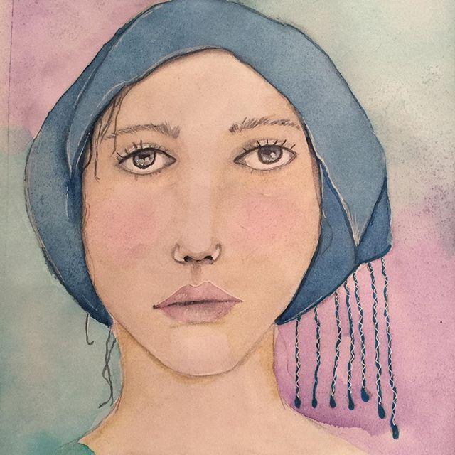 Done... Feel like I'm getting somewhere. Not giving up!  #akvarell #watercolor #visualjournal #artjournalgirl #artjounal #artjournal #aquarelle #paintingfaces #lykkeligkreativ #dailyface #watercolorportrait #kunst