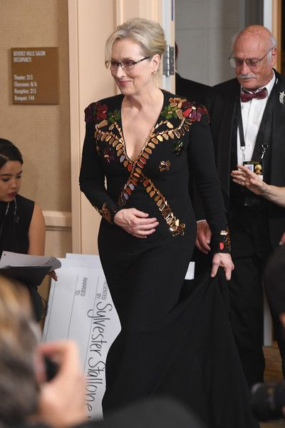 Meryl Streep Photos Photos - Actress Meryl Streep, recipient of the Cecil B. DeMille Award, walks into the press room during the 74th Annual Golden Globe Awards at The Beverly Hilton Hotel on January 8, 2017 in Beverly Hills, California. - 74th Annual Golden Globe Awards - Press Room