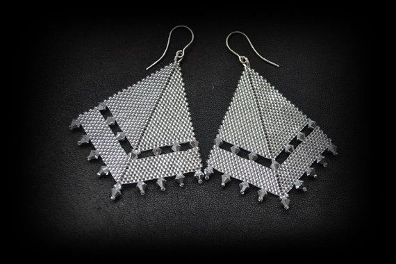 Long light earrings silver crystals by SzkatulkaAmiJewelry on Etsy