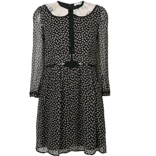Coach duck print semi-sheer dress (€555) ❤ liked on Polyvore featuring dresses, black, pattern dress, coach dresses, semi sheer dress, mixed print dress and print dress
