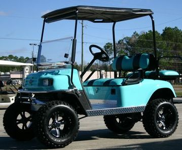 EZ-GO Lifted Turquoise & Black 36 Volt Electric Golf Cart. WANT IT SOOOOO BAD!!!!!