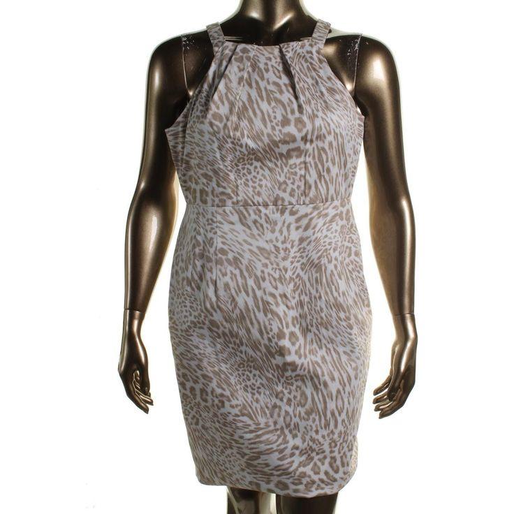 Calvin Klein Womens Animal Print Pleated Wear to Work Dress