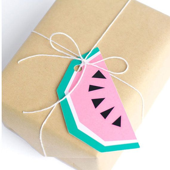 Geometric Watermelon Gift Tags by The Chaos Club