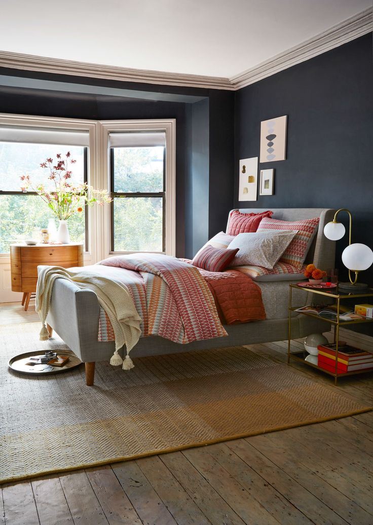 Love dark for a bedroom!  Deck out your bedroom in bold color + modern patterns. Intricate woven textiles designed by Margo Selby for west elm add bright pops of color with pillows, bedding, rugs + more.