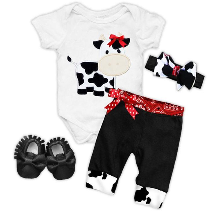 Black red cow bandana bow onesie and pants (includes onesie and pants) and don't forget to add the optional matching accessories/items: (Shoes, Headband, Blanke