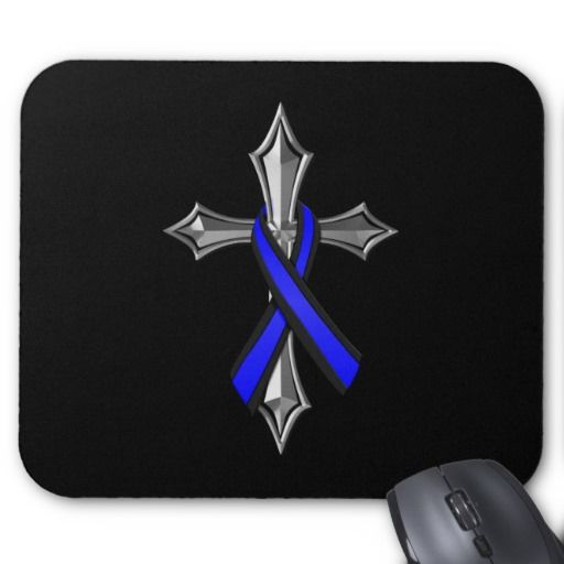 Bless The Thin Blue Line Ribbon and Cross #ThinBlueLine #Police #Ribbon