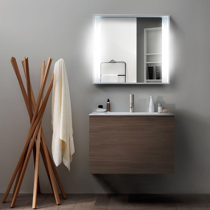 Lovely warm tones from minimalistic 51 furniture collection Tabacco finish! #modern #bathroom #vanity #mirrors