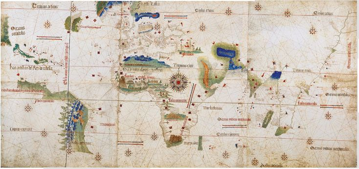 Cantino planisphere 1502, one of the earliest surviving charts showing the explorations of Pedro Álvares Cabral to Brazil. The Tordesillas line is also depicted. This Day in History: Apr 22,1500: Portuguese navigator Pedro Álvares Cabral lands in Brazil.http://dingeengoete.blogspot.com/