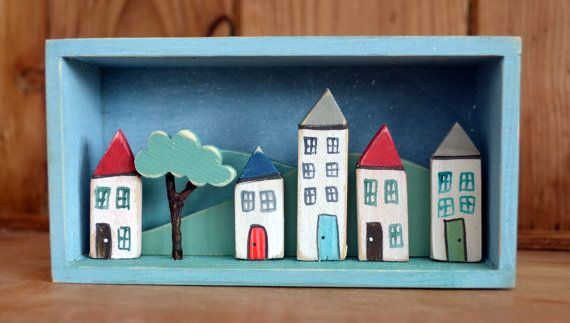 Little row of houses: box scene home house by WoodenHeartCo