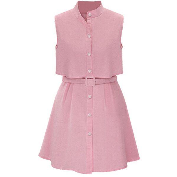 Choies Pink High Neck Belt Waist Overlay Shirt Dress ($20) ❤ liked on Polyvore featuring dresses, vestidos, robe, pink, long shirt dress, high neckline dress, shirt-dress, pink day dress and pink dress