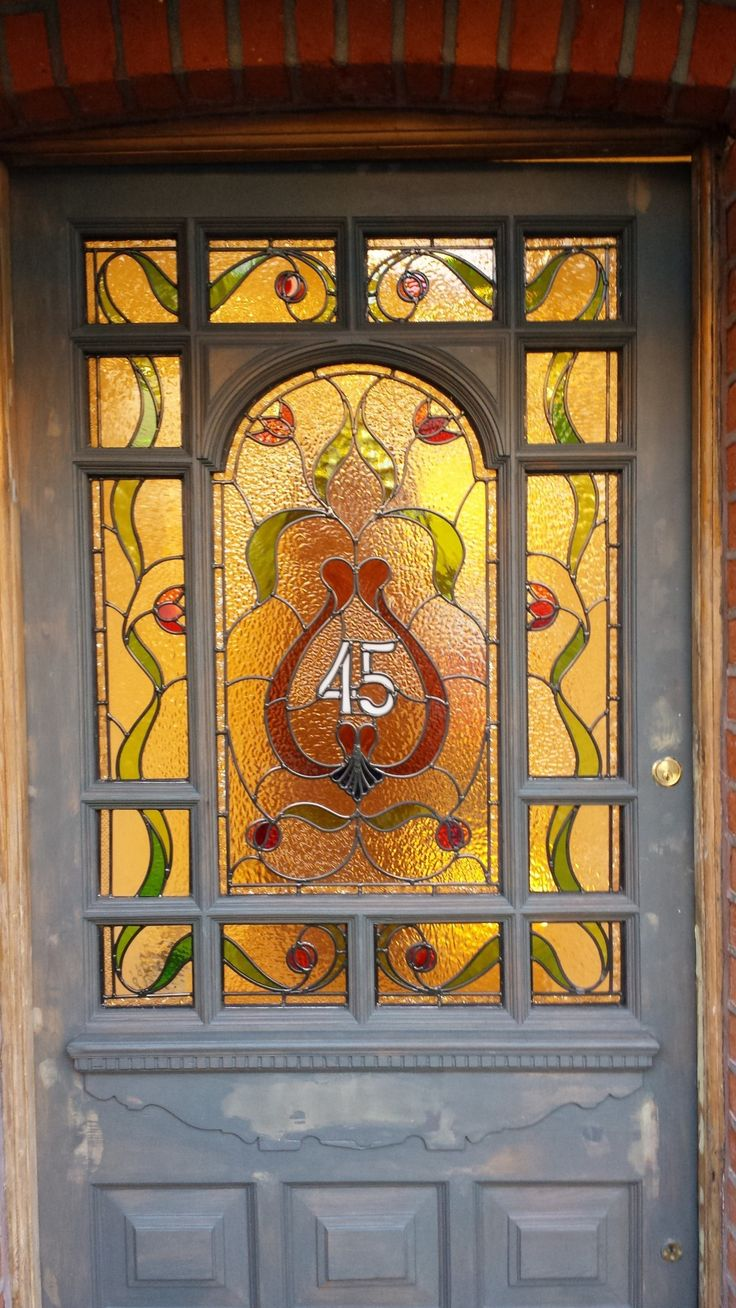 Stained glass pocket doors - Edwardian Art Nouveau Stained Glass