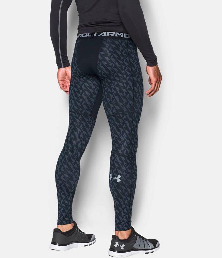 Men's UA ColdGear® Armour Printed Compression Leggings, Black , zoomed image (use as sleepwear/loungewear)