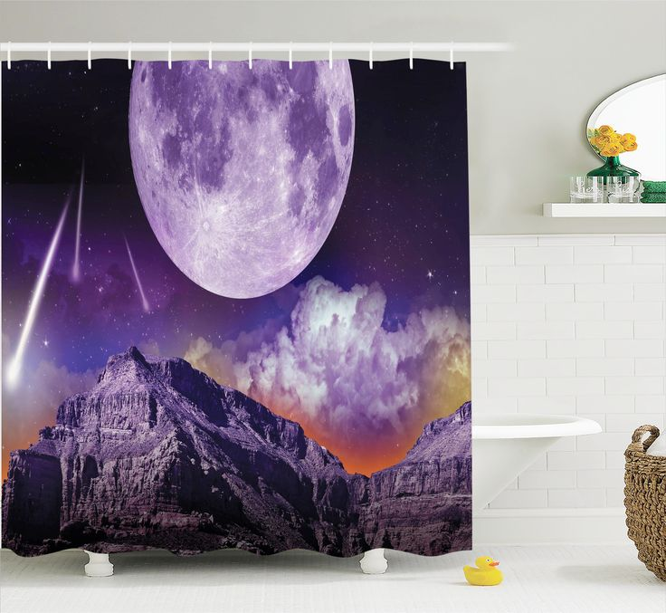 Outer Space Shower Curtain Set, Fantasy Dark Night in Earth Cosmos Galaxy Planet Celestial Large Moons Comets, Bathroom Decor, Purple Black, by Ambesonne - Walmart.com