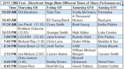 2017 CMA Fest Riverfront Stage Lineup Revealed! ~ 2017 CMA Fest Autograph Signing and Meet and Greet Schedule
