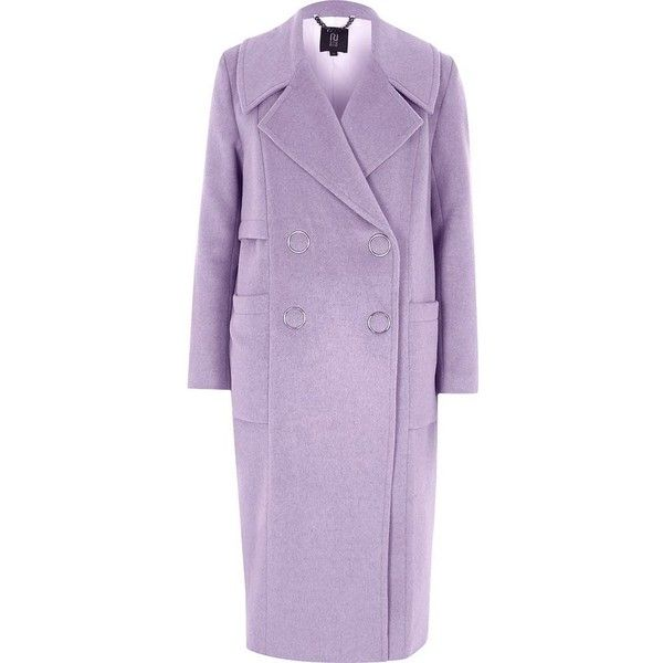 River Island Lilac purple RI Studio oversized wool coat ($300) ❤ liked on Polyvore featuring outerwear, coats, double breasted coat, lilac coat, oversized coats, tall coats and river island