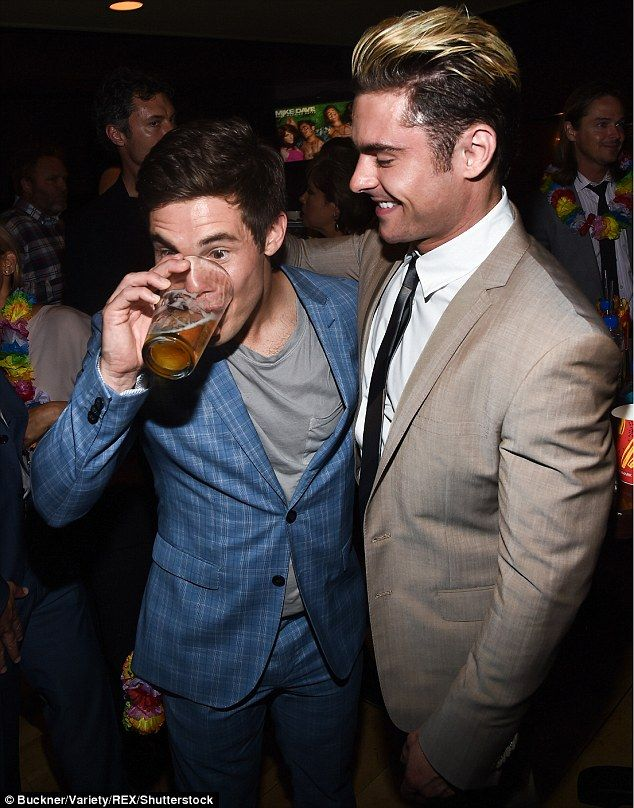 Party Hard! Zac Efron and Adam DeVine looked to be in the mood to celebrate their film, wi...