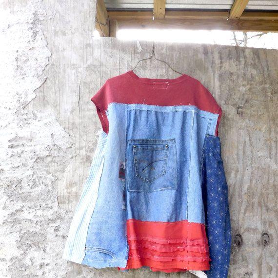 Upcycled Tunic Denim Dress Wearable Art Patchwork от CreoleSha