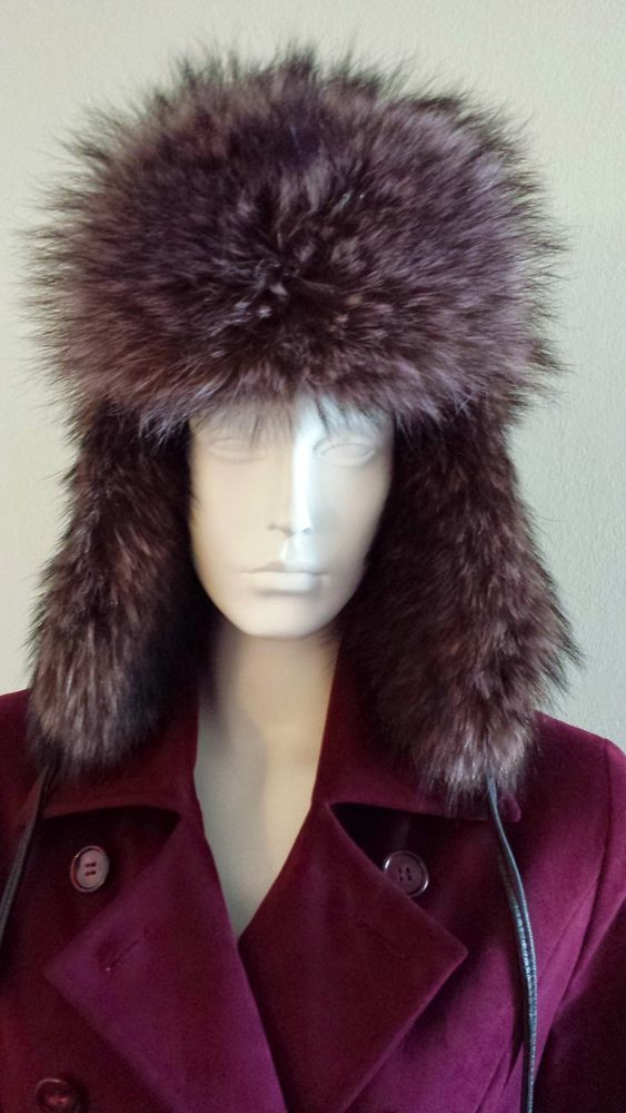 5deb42a6023ff CROWNCAP WINNIPEG CANADA UNISEX LAVENDER NATURAL RACCOON TRAPPER HAT SIZE M