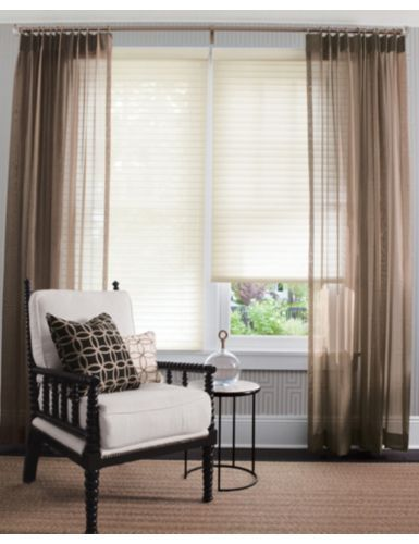 "2"" Horizontal Sheer Shadings in 1314 Swiss Coffee; layered with Single Pleat Drapery in 14688 Social Sheer/ Bronze"