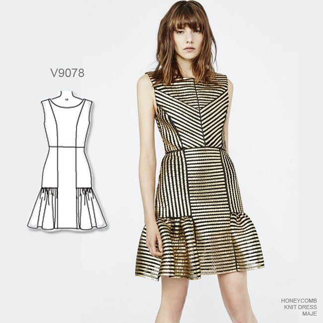 558 отметок «Нравится», 16 комментариев — McCall Pattern Co (@mccallpatterncompany) в Instagram: «Holiday party dress option: Sew Vogue Patterns #V9078 out of striped metallic brocade. #sewthelook…»