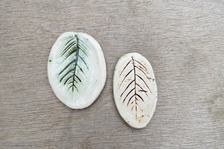 Ceramic cabochon, ceramic pendant, porcelain tesserae, ceramic leaf, leaf cabochon by BlackRabbitCeramics on Etsy