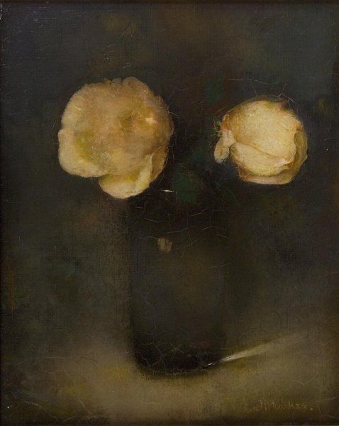 jan mankes, twee roosjes in glas, 1912