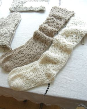 lacy socks...sew elastic into cuff to prevent sliding?