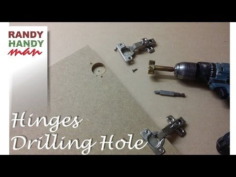 Drilling holes for concealed door hinges. Making holes for cupboard hinges. - YouTube