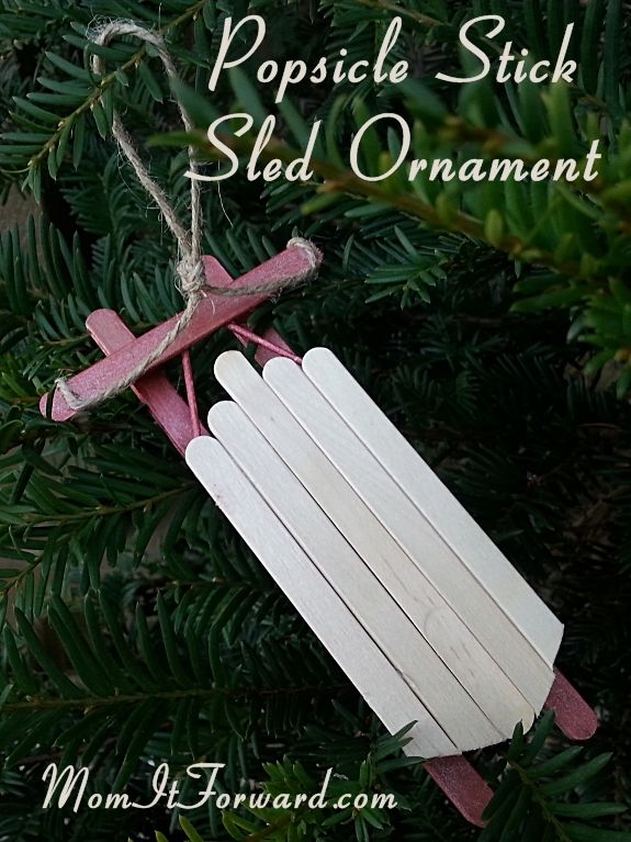 How to Make a Popsicle Stick Sled Ornament | MomItForward.com