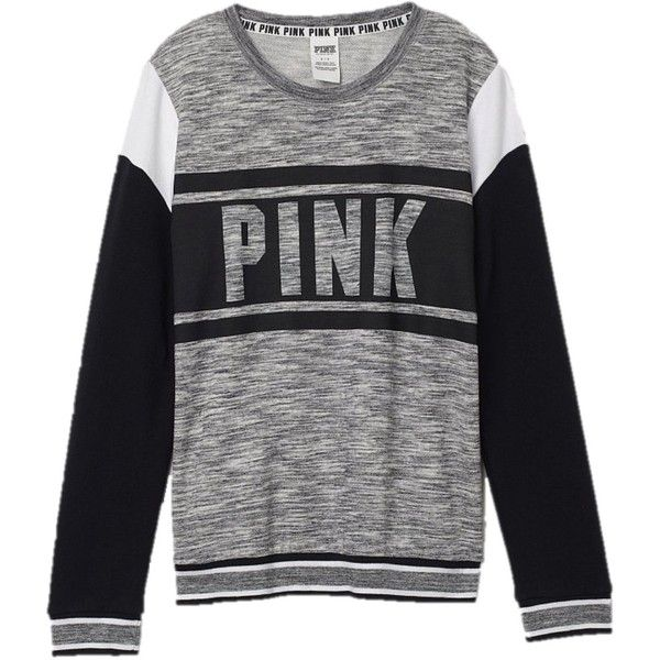 Victoria's Secret PINK Collegiate Crew Sweatshirt Large Gray Marl ($80) ❤ liked on Polyvore featuring tops, hoodies, sweatshirts, shirts, crew neck shirt, gray crewneck sweatshirt, crew shirt, crew neck sweatshirts and grey crew neck sweatshirt