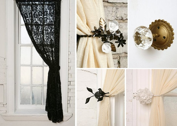 Black lace curtains with pretty pullback accessory | HOME // Goals ...