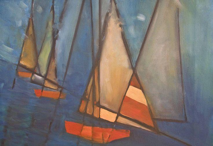 Day 15 Sailing Regatta oil on canvas