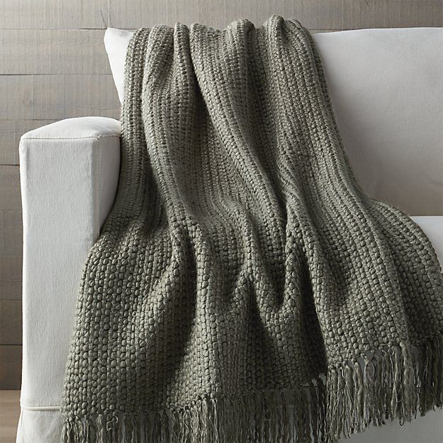 landyn silver sage green chunky knit throw crate and barrel