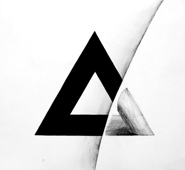 Trójkąt, 30x30cm, brystol, pencil, marker