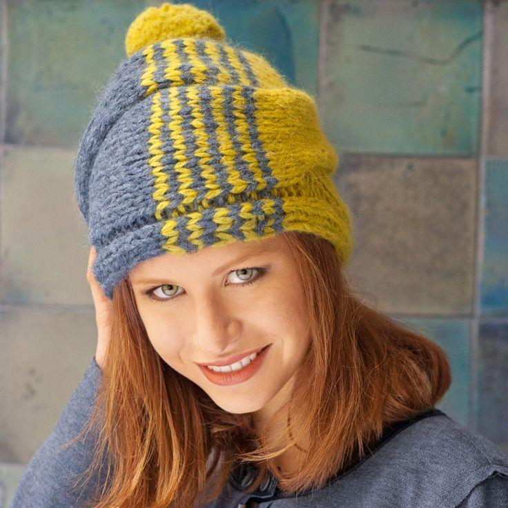 Описание вязания на спицах шапки с широкой косой из журнала «Сабрина. Специальный выпуск» №11/2015