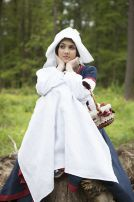 """Средневековый костюм """"Незабудка"""". Льняное платье, батистовая рубашка, шаперон и фартушек."""