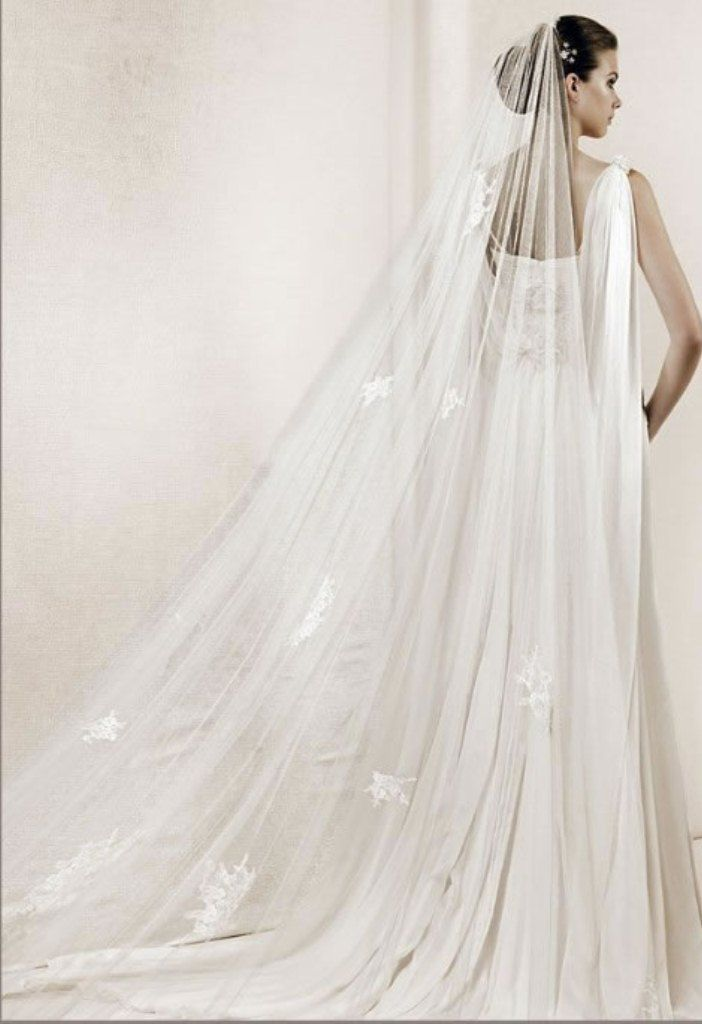 Long wedding veil styles be chic bride 1 pinterest for Long veil wedding dresses