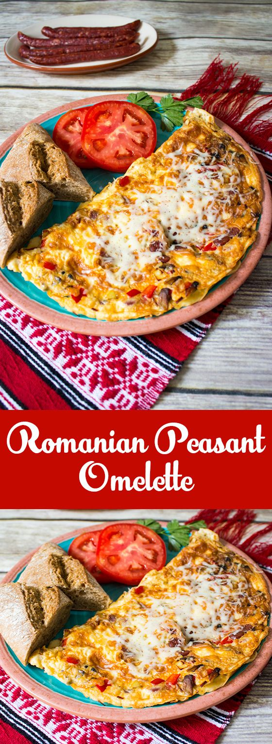 Romanian peasant omelette loaded with veggies and smoked sausage!