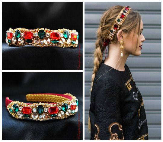 b4ca54cc RED CROWN Dolce tiara, baroque headband, dolce headpiece, gold leaf tiara,  red #Headband