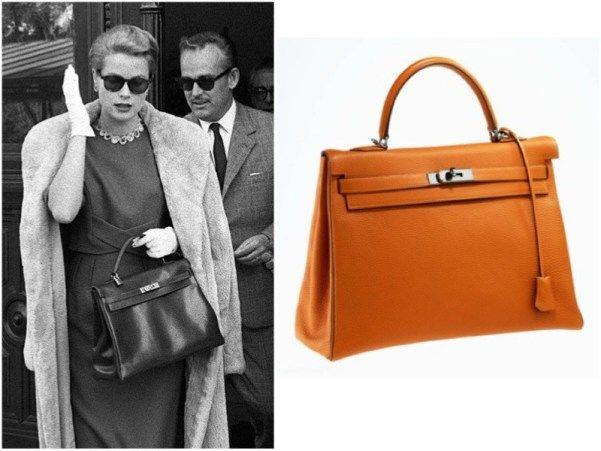 Borsa Kelly di Hermes. Questa borsa diventò famosa grazie alla principessa di Monaco e attrice Grace Kelly che la usò per coprirsi la pancia quando era incinta.
