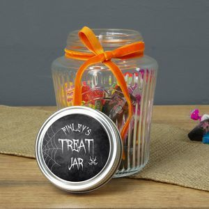 Personalised Halloween Treat Jar | From trick or treating and pumpkin carving, to watching scary movies and having a party, there's so much you can enjoy on the spookiest night of the year. Time to get Halloween-ready with tasty treats.