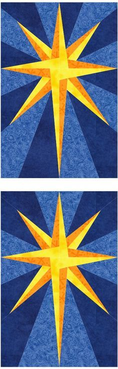 free The paper pieced quilt block Star of the East is ideally suited for holiday projects, but with different color choices, the design canbe used in a variety of ways. The asymmetric star block is sewn in 4 sections. Choose two shades of golden yellow for the star, and two of blue for the background. Shown…