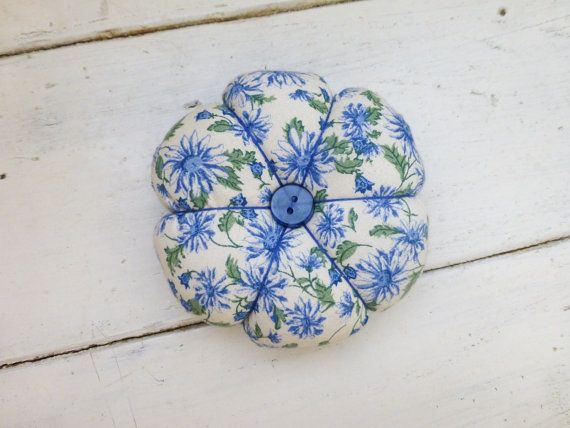 Pin cushion for sale Fabric pincushion sewing pincushion quiliting pincushion quilter's gift hand sewingneedle holder pincushion blue by SixthandDurianSupply