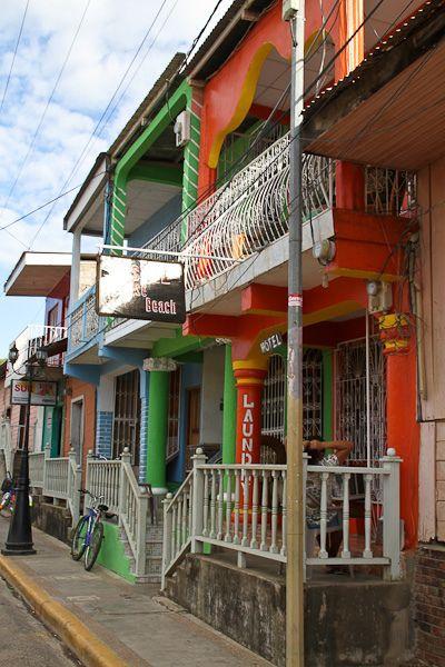 Colorful colonial buildings in San Juan del Sur, Nicaragua - by Marion Robin